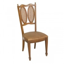 DINING SIDE CHAIR-Fruitwood W/Damask Vinyl Seat