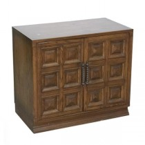 END TABLE-MCM Fruitwood W/Squares, (2)Doors, & Turned Metal Hardware