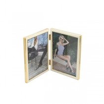 PICTURE FRAME-Double Frame-Siena Metallic & White Enamel w/Gold