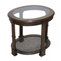 SIDE TABLE-Fruitwood-Glass Top w/Cane Bottom