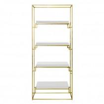 BOOKCASE-Gold Frame W/White Lacquer Shelf