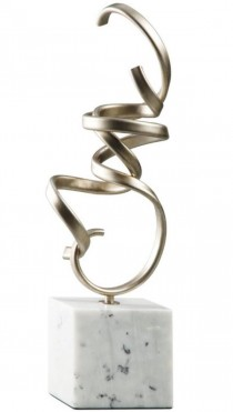 SCULPTURE-Champagne Finsih Metal Squiggle W/Marble Base