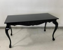 CONSOLE TABLE-Black Lacquer W/Carved Front & Queen Anne Leg