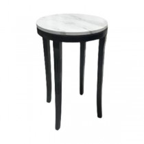 SIDE TABLE-Round W/Faux Marble Top & Black Painted Base