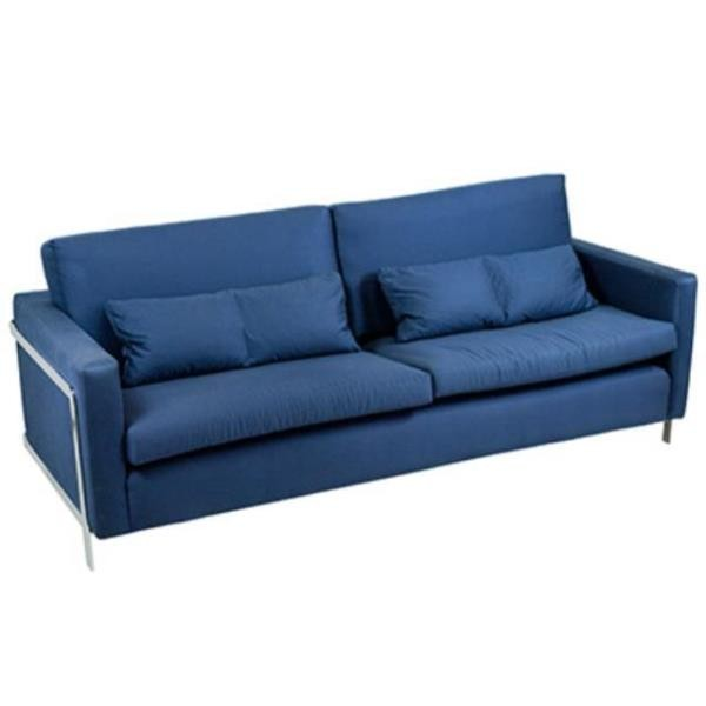 Navy Sofa W/Chrome Frame