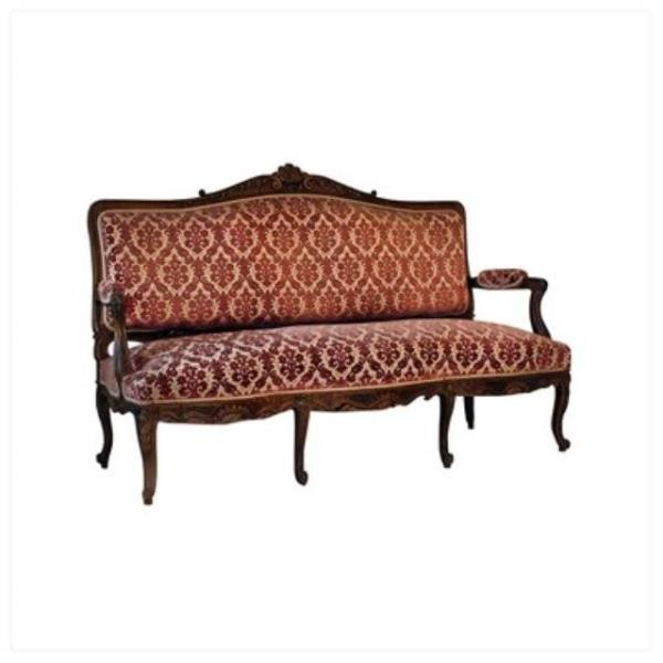 Sofa Mauve Tan Velvet Wood F