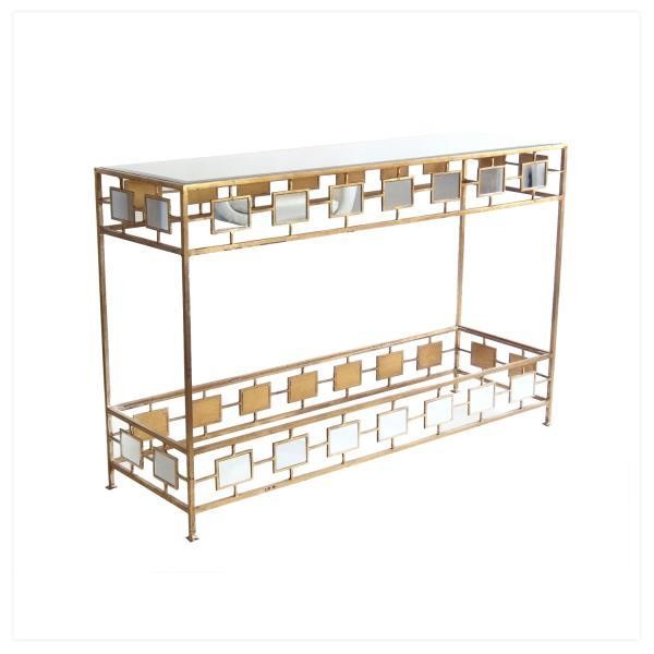 TABLE-CONSOLE-GOLD W/ MIRRORED