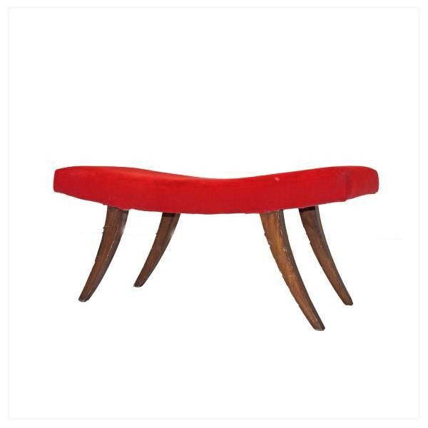 BENCH-CURVED-RED-SPLAYED LEGS