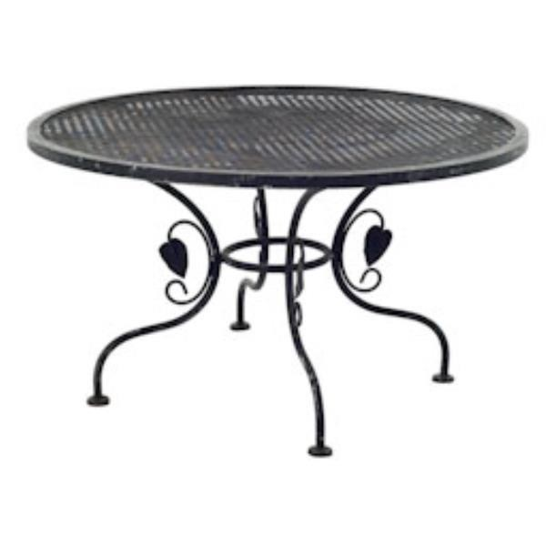 TABLE-BLK IRON GRID W/LEAF SID