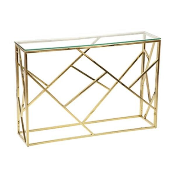 Gold Metal Basket Console