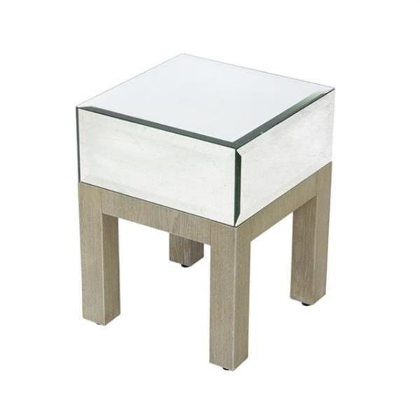 PEDESTAL-Mirrored Cube Top-Laminate Wood Base