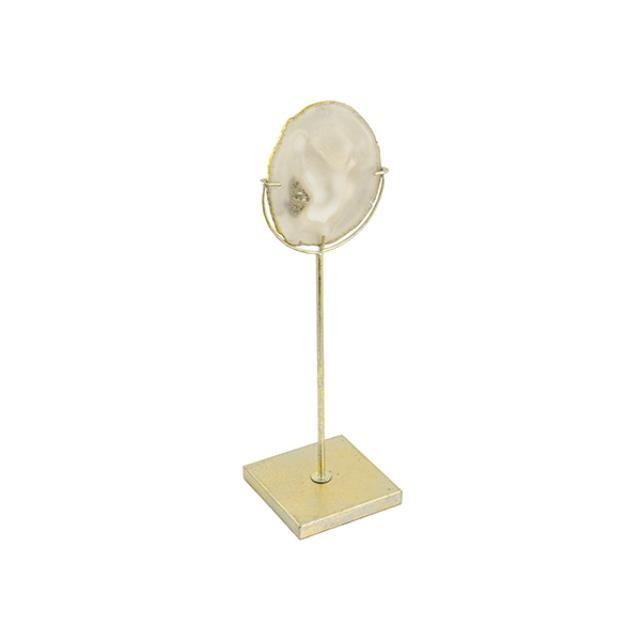 SCULPTURE-Geode Slice on Brass Stand