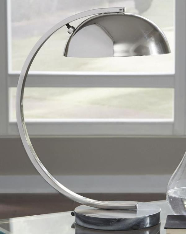DESK LAMP-Chrome W/Arched Frame, Dome Shade, & Marble Base